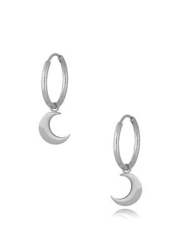 Kolczyki kółka posrebrzane ze stali szlachetnej Silver Moons KSA0292