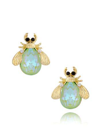 Kolczyki żuki z miętowymi kryształami KMI0154