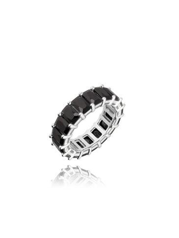 Pierścionek srebrny z czarnymi kryształkami PRG0183 rozmiar 18