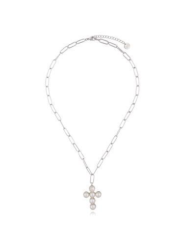 Naszyjnik srebrny z krzyżem z perłami NRG0361