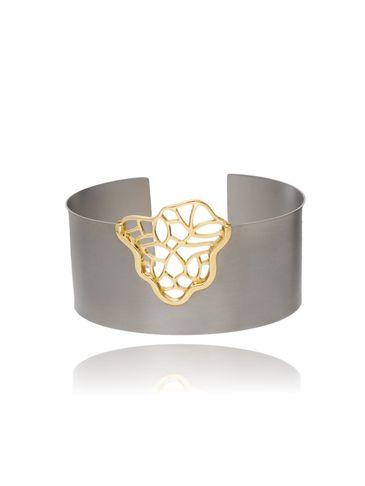 Bransoletka ze srebra i tytanu hematytowo złota BLE0007