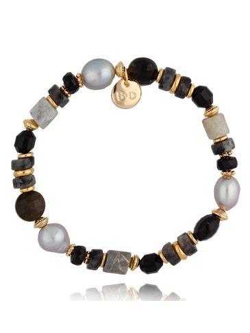 Bransoletka z perłami i kamieniami naturalnymi Grey Stone BPA0102