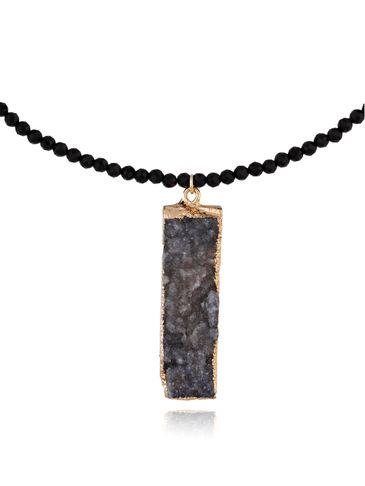 Naszyjnik z szaro czarnym agatem NPA0008