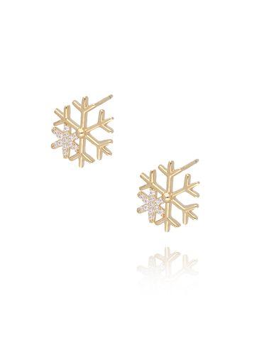 Kolczyki pozłacane śnieżynki KGM0066