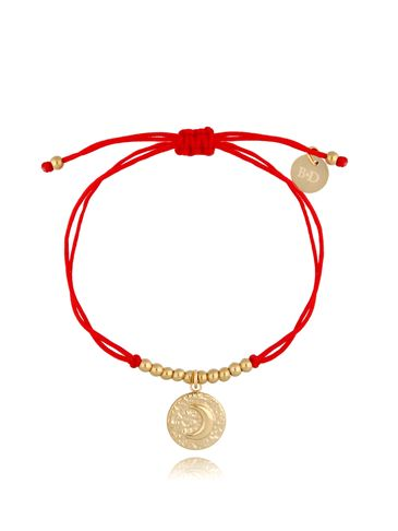 Bransoletka złoto-czerwona z okrągłą zawieszką Moona BGL0497