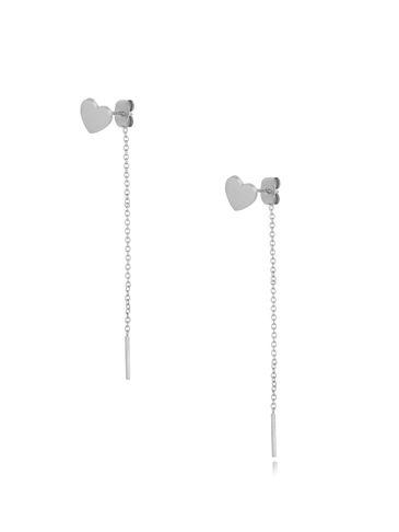 Kolczyki srebrne serduszka z łańcuszkiem KSA0190