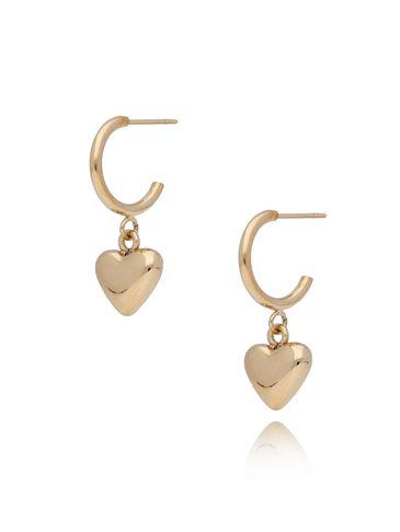 Kolczyki złote z sercem ze stali szlachetnej KSA0114