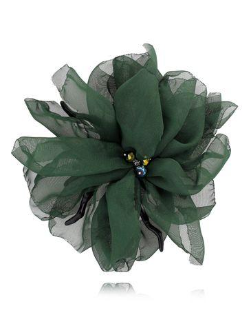 Broszka kwiat  z koralowcem  zielony ciemny BRBL0008