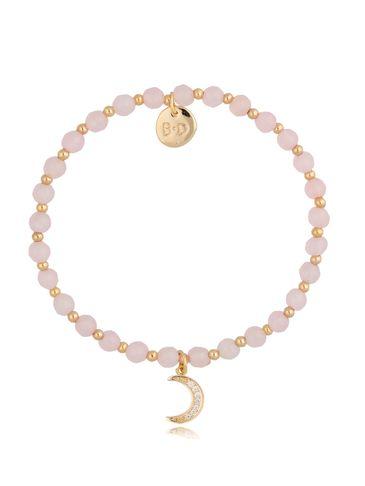 Bransoletka kwarc różowy z księżycem BTW0472