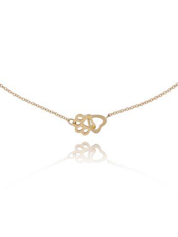 Naszyjnik złoty z łapką i sercem ze stali szlachetnej NPS0004