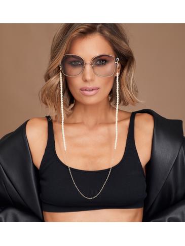 Łańcuszek do okularów z perełkami złoty NRG0354