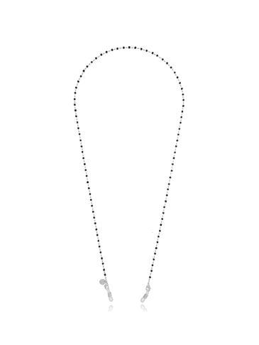 Łańcuszek do okularów srebrny z kryształkami NOA0031