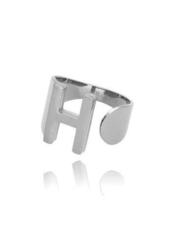 Pierścionek srebrny ze stali szlachetnej z literką H PSA0074