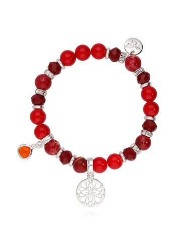 Bransoletka czerwona z koralu i jaspisu - rozetka BMMH3766