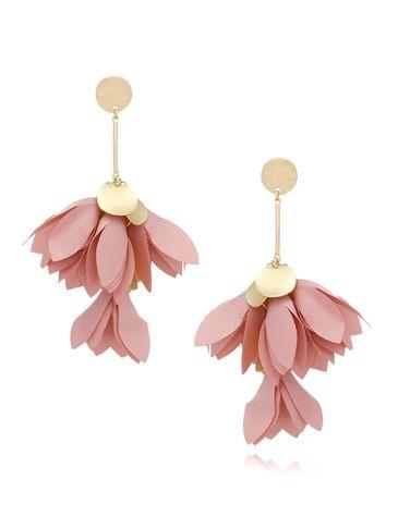 Kolczyki satynowe kwiaty różowe KBL0433