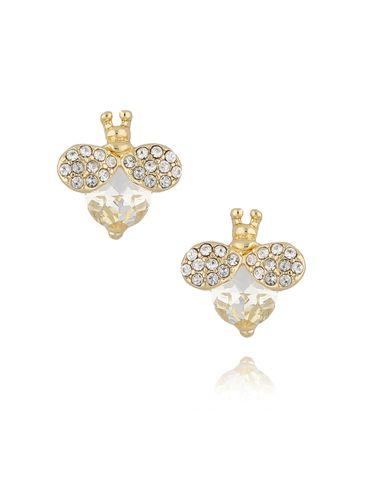Kolczyki złote owady z kryształkami KMI0115