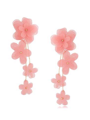Kolczyki satynowe kwiaty  Blossom Salmon Primerose KBL0873