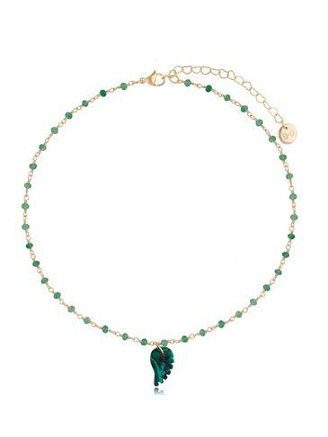 Naszyjnik zielony łańcuszek ze skrzydełkiem z malachitu Tropical Bird NPA0402