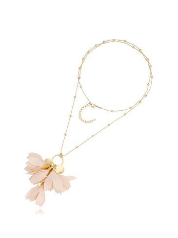 Naszyjnik złoty z kwiatem kremowy NBL0021