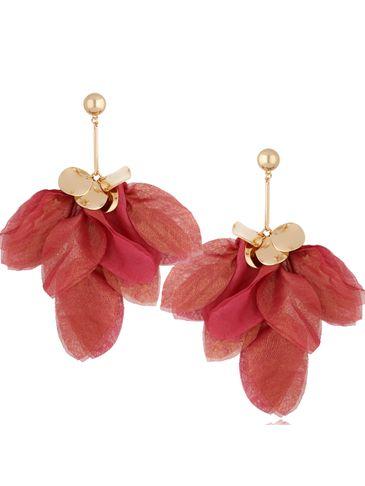 Kolczyki jedwabne kwiaty różowo bordowe KBL0776