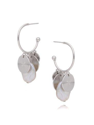 Kolczyki srebrne z perełkami i dyskami KPE0032