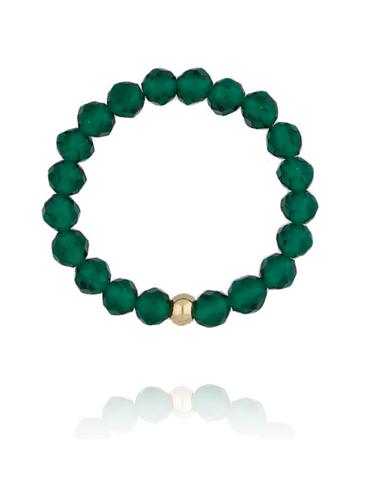 Pierścionek elastyczny z zielonymi kwarcami PSC0148