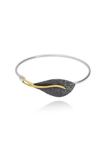 Bransoletka liść z tytanu i srebra BLE0003