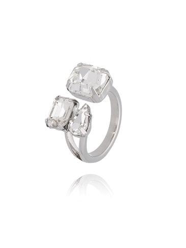 Pierścionek srebrny z transparentnymi kryształami PRG0162 rozmiar 11