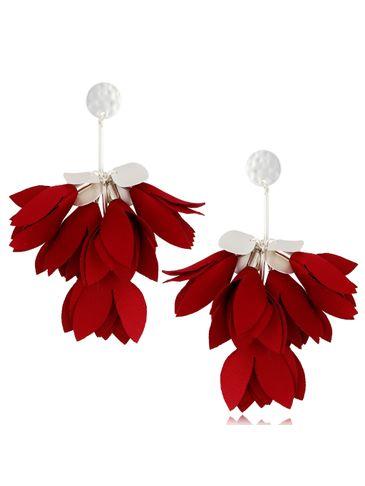 Kolczyki satynowe kwiaty burgund KBL0517
