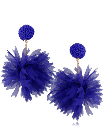 Kolczyki jedwabne kwiaty granatowe KBL0680