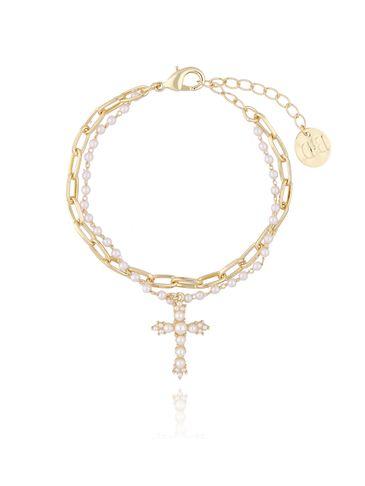 Bransoletka złota z perełkami i krzyżykiem BRG0108