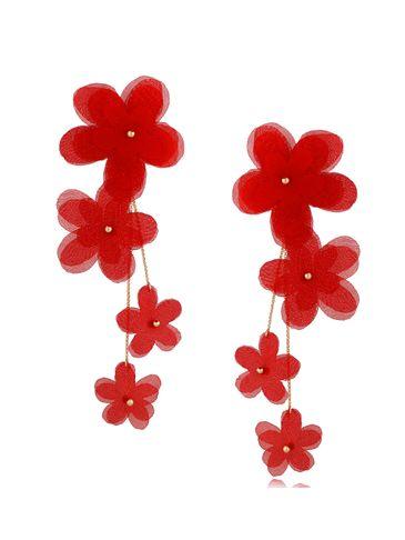 Kolczyki satynowe kwiaty Blossom Red Primerose KBL0876