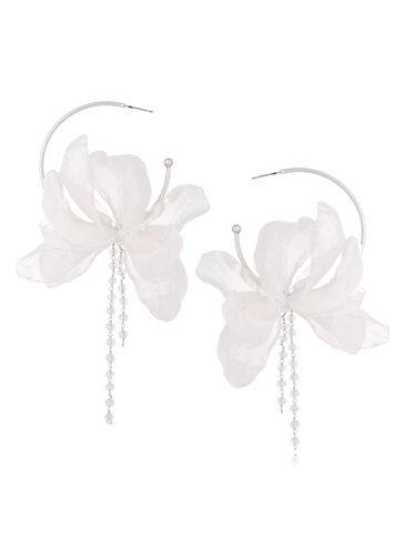 Kolczyki jedwabne kwiaty białe KBL0484