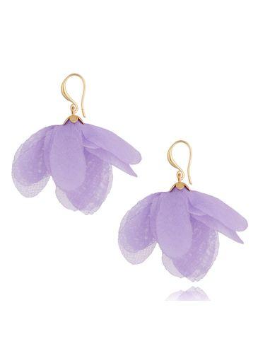 Kolczyki jedwabne kwiaty fioletowe KBL0858