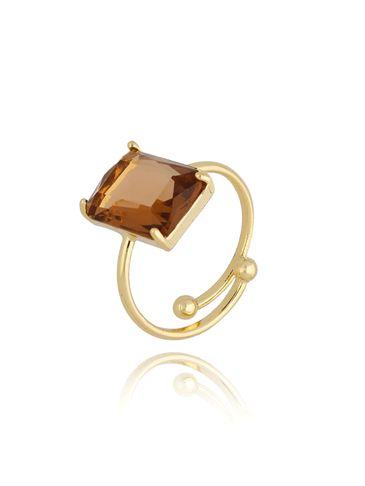 Pierścionek złoty z brązowym kryształowym oczkiem PTO0009