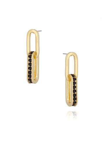 Kolczyki złote z czarnymi cyrkoniami KRG0518
