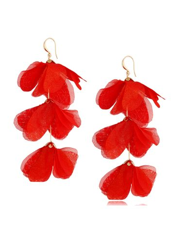 Kolczyki jedwabne kwiaty potrójne czerwone KBL0790