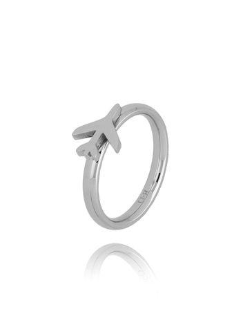 Pierścionek srebrny ze stali szlachetnej z samolotem PSA0176 rozmiar 10