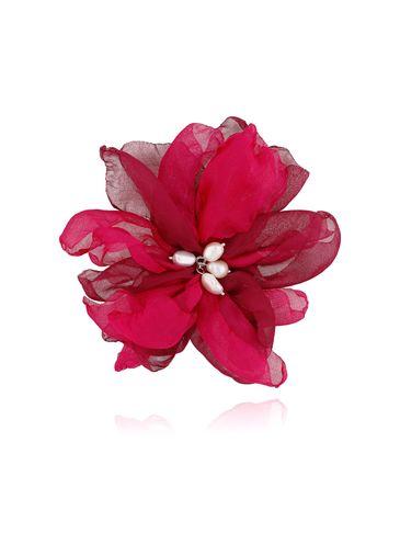 Broszka / spinka kwiat z perełkami fuksjowa BRBL0022