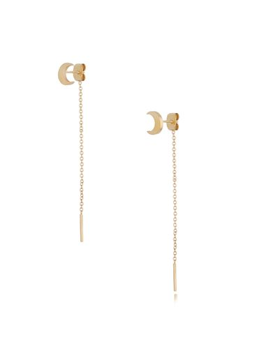 Kolczyki złote księżyce z łańcuszkiem KSA0187