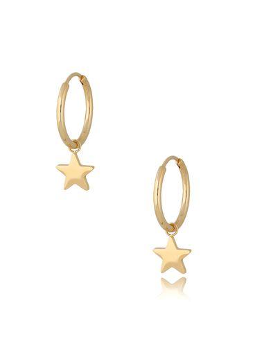 Kolczyki kółka pozłacane ze stali szlachetnej Gold Stars KSA0289