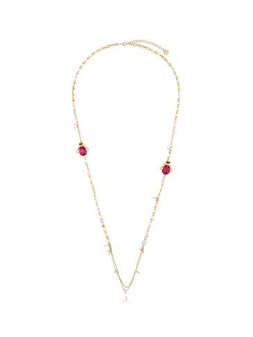 Naszyjnik z perłami i fuksjowymi owadami NMI0092