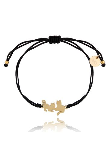 Bransoletka złoto-czarna z kotkami Kitty BGL0511