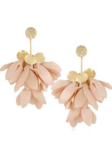 Kolczyki jedwabne kwiaty beżowe KBL0799