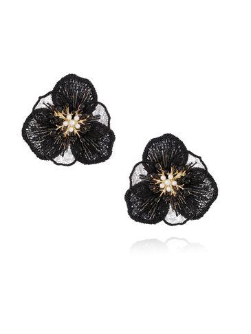 Kolczyki czarne kwiaty z kryształkami KLI0015