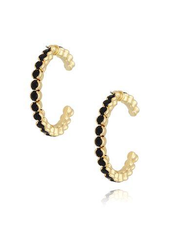 Kolczyki złote koła z kryształkami KRG0582