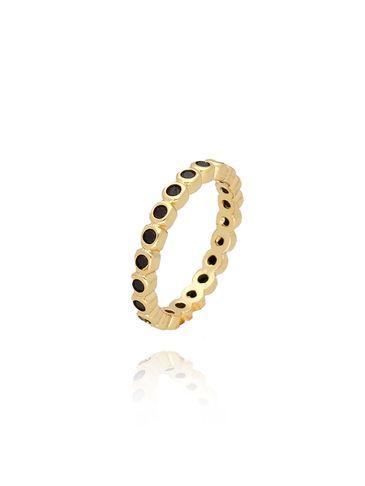 Pierścionek złoty z czarnymi cyrkoniami PCO0011 rozmiar 11