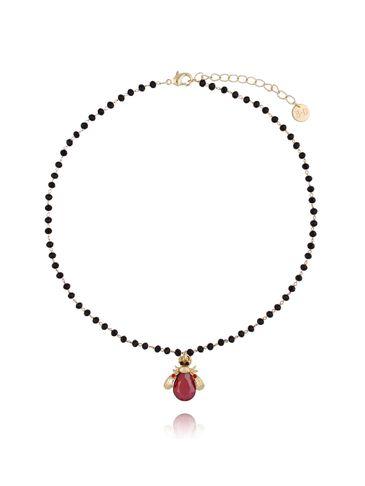 Naszyjnik czerwony żuk z kryształkami NMI0046