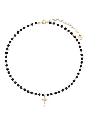 Naszyjnik czarny łańcuszek z agatami i zawieszką krzyżyk z cyrkoniami NPA0401