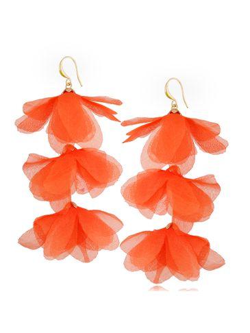 Kolczyki jedwabne kwiaty potrójne pomarańczowe KBL0865